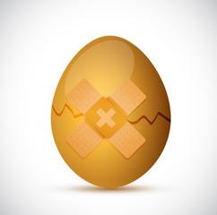 broken egg and band aid illustration design