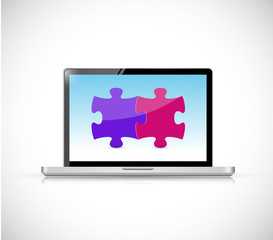 laptop computer and puzzle pieces illustration