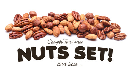 Nuts Set background with copyspace on a white background