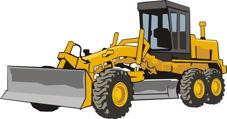 yellow construction wheel buldozer