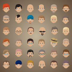 Cartoon Faces Set - Isolated On Brown Background
