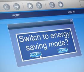 Energy saving mode concept.