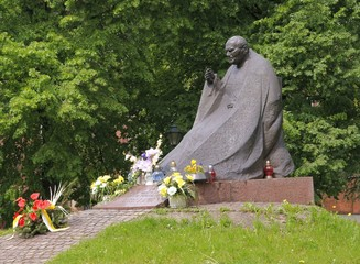 brass monument of Saint Pope John Paul II in Krakow