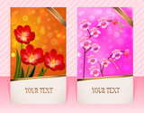two cards with flower for invitations striped background