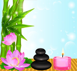 background Spa flower Palma stones and candle