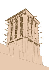 Hand drawn Sketch of Wind Tower Architecture in Dubai, United Ar