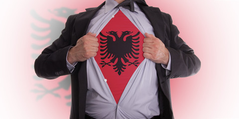 Business man with Albanian flag t-shirt