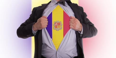 Business man with Andorran flag t-shirt