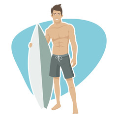 Young guy surfer holds surfboard