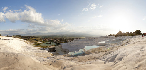 Panoramic photo of natural travertine and terraces in Pamukkale