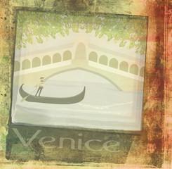 gondoliere in venezia , abstract grunge background