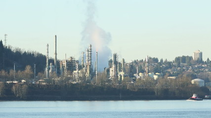 Tugboat and Oil Refinery, Burrard Inlet