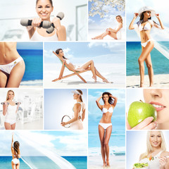 Collage about dieting, healthy eating and fitness