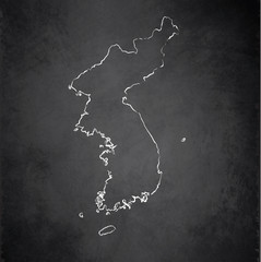 Korea map blackboard chalkboard vector