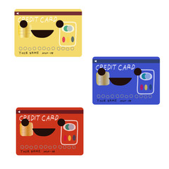 クレジットカードのイラスト3色セット
