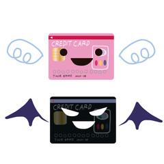 優良カードと悪徳カード比較イラストセット