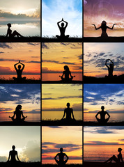 Sunset meditation. Silhouette of women doing yoga exercises.