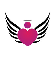 Pink angel symbol icon logo vector