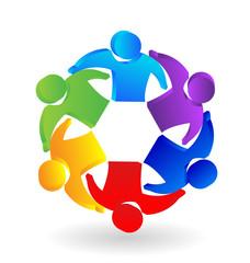 Teamwork 3D people leadership concept logo vector