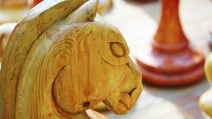 Closeup of big wooden horse chess figure