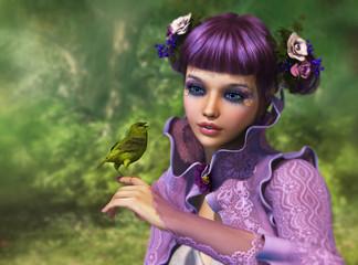 Girl and Green Bird, 3d CG