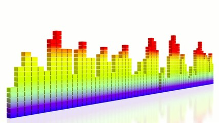 Digital colorful music equalizer on white