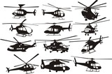helicoptersilhouettes set