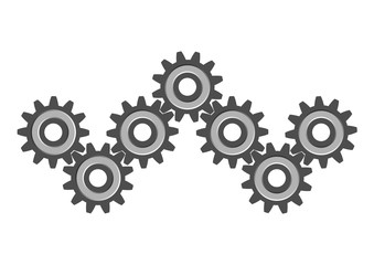 Cogwheels on white background