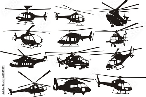 helicoptersilhouettes set - 64997891