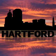 Hartford skyline reflected with text and sunset illustration