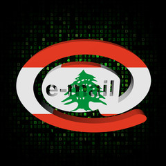 e-mail address symbol with Lebanese flag on hex illustration