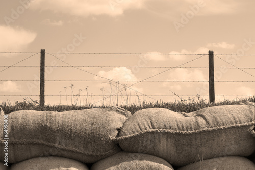 Trenches of death world war one sandbags in Belgium - 64998408