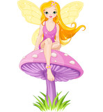 Fototapety Cute Fairy on the Mushroom