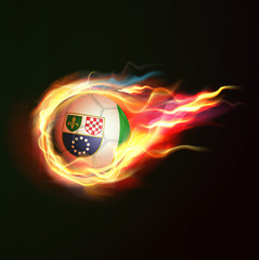 Bosnia & Herzegovina flag with flying soccer ball on fire