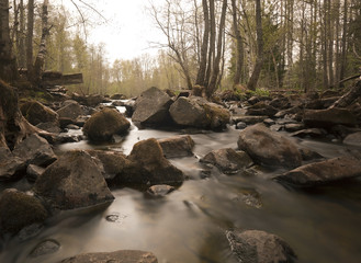 Hagge river photographed springtime, daytime with long exposure