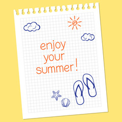 Hand drawn note Enjoy your summer with flip-flops and seashells