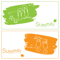 Grunge summer banners with brush strokes and paint splashes