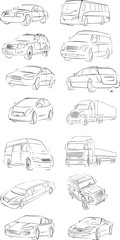 set of the draft vector cars of the different types