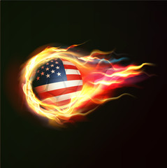 USA flag with flying soccer ball on fire isolated background