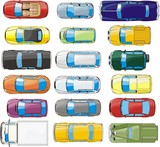 Fototapety set of  top view cars