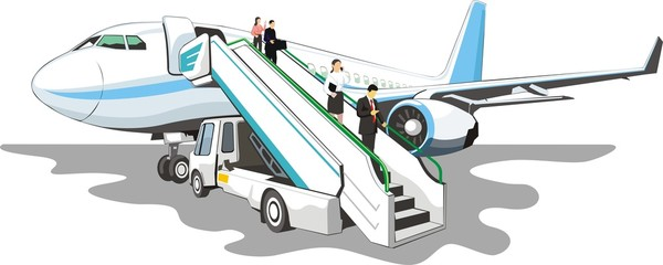Mobile loading ramp on a airplane
