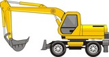 construction excavator on a wheel base