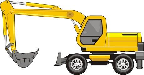 construction excavator on a wheel base