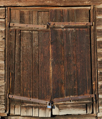 Old brown wooden door