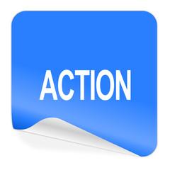 action blue sticker icon