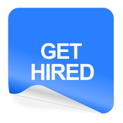 get hired blue sticker icon