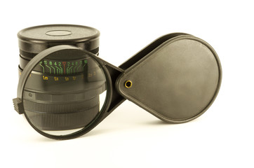 lens and magnifying glass, isolated