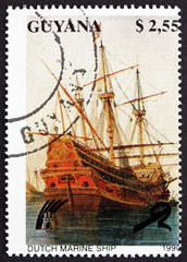 Postage stamp Guyana 1990 Dutch Marine Ship, Sailing Ship