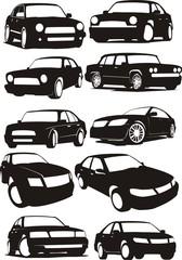 silhouettes passenger cars