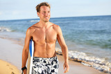Surfer fun on summer beach - handsome man